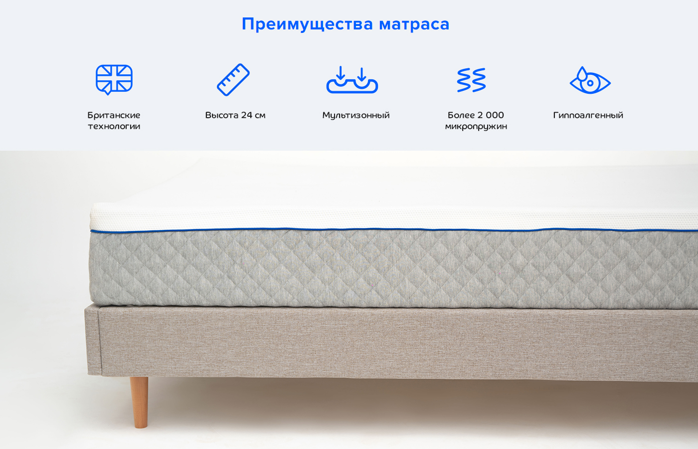 Матрас Blue Sleep Hybrid 2.0 140х200